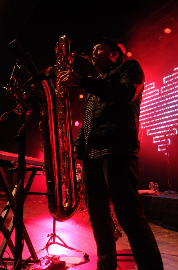 Saxaphonist James King performs on stage with Fitz and the Tantrums at the State Theatre in Portland on Saturday.