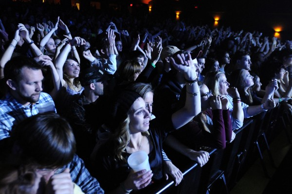 An audience of about 2 thouand dance and sing along with Fitz and the Tantrums at the State Theatre in Portland on Saturday.