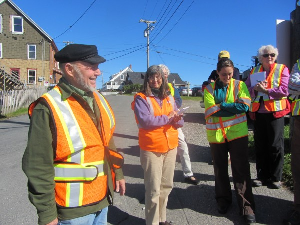 Jim Barstow speaks makes a point during a visit Wednesday by members of a safety committee looking at ways to improve the traffic and pedestrian flow at the Port Clyde village.