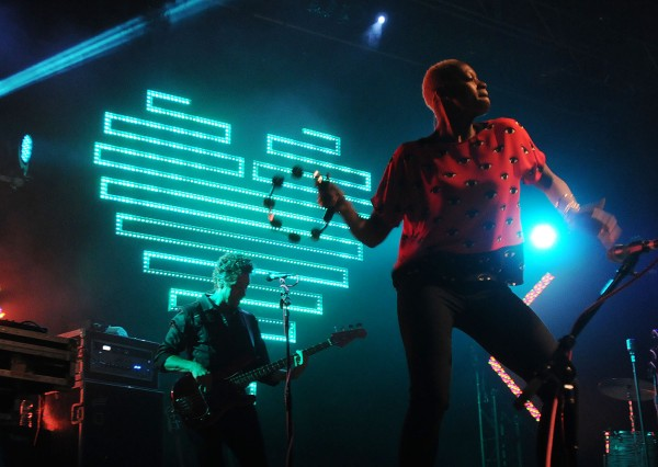 Singer Noelle Scaggs with her ever present tambourine and bassist Joseph Karnes perform on stage with Fitz and the Tantrums at the State Theatre in Portland on Saturday.