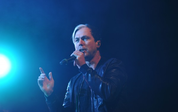 Michael Fitzpatrick performs on stage as Fitz and the Tantrums at the State Theatre in Portland on Saturday.