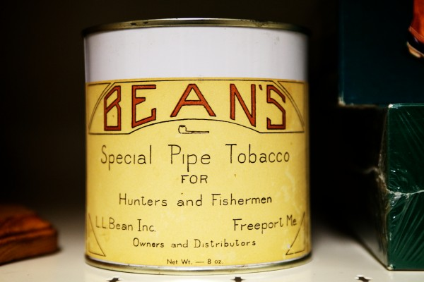 An old L.L. Bean brand pipe tobacco can is part of the company's archives in Freeport. L.L. Bean no longer sells tobacco or pipes.