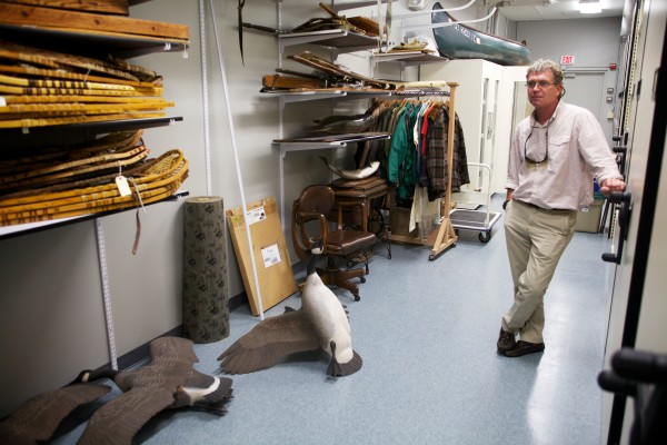 L.L. Bean spokesman Mac McKeever stands in the company archives in Freeport on Tuesday.