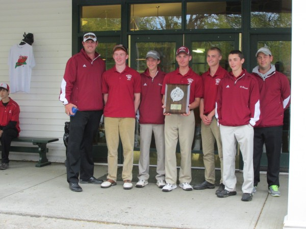 Coach Rob Jarvis (left) poses with the Bangor High School golf team that finished second in Saturday's team state championships at Vassalboro. Also pictured are Liam Redding, Reed Brookings, Rye Powell, Cole Turner and Drew Powell and volunteer coach Brian Johnson.