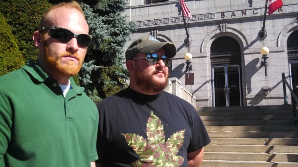 U.S. Marine Corps veterans and medical marijuana patients Bryan King and Ryan Begin lauded a change in law that allows people suffering from post-traumatic stress disorder to obtain prescriptions for medical marijuana on Tuesday. They participated in a press conference on the steps of Bangor City Hall on Tuesday, Oct. 1.