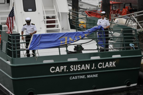Maine Maritime Academy students reveal the new name of a training vessel. The vessel was named after Susan Clark, an alumna who set many precedents as a female ship captain.
