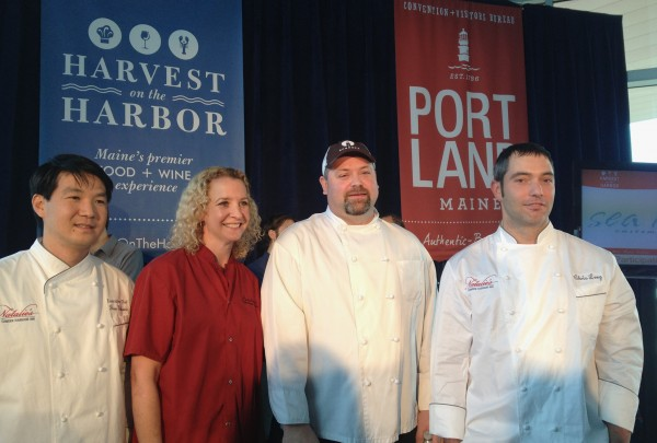 Competing for Maine lobster chef of the year at Harvest on the Harbor this year are Jon Gaboric (from left) of Natalie's at The Camden Harbour Inn, Shanna O'Hea of Academe at The Kennebunk Inn, Brandon Blethen of Robert's Maine Grill in Kittery and Chris Long of Natalie's at The Camden Harbour Inn.