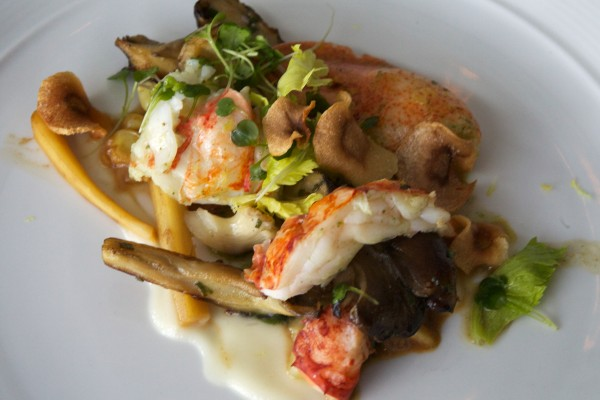 Winner and Harvest on the Harbor lobster cooking contest dish No. 4 by Chef Chris Long of Natalie's at the Camden Harbour Inn: butter poached lobster with grilled local mushrooms, corn, parsnip ragout and thyme butter.