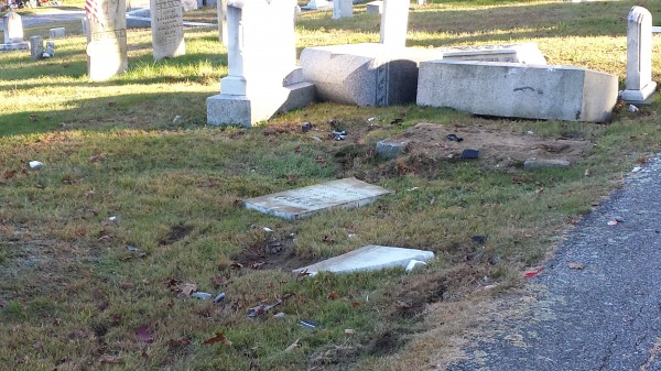 A demolition derby-style argument between a mother and a daughter from Winthrop at the Monmouth Ridge Cemetery on Friday night, Sept. 27, 2013, significantly damaged a number of headstones, according to authorities.