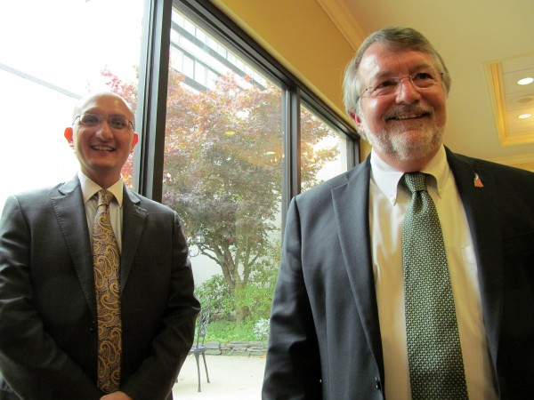 Former New Hampshire House Speaker William O'Brien, right, joined Maine Heritage Policy Center CEO J. Scott Moody just after the center's annual Freedom and Opportunity Luncheon Friday in South Portland. O'Brien was the keynote speaker of the event.