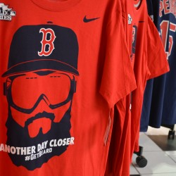 One of several T-shirts at Olympia Sports at the Bangor Mall commemorating the Boston Red Sox appearance in the 2013 World Series. The Red Sox are one win away from clinching its third World Series title in the past 10 years.