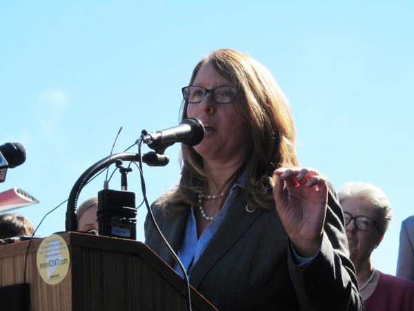 Christie Hager, New England regional director of the U.S. Department of Health and Human Services, discusses the launch of health insurance marketplaces as part of President Barack Obama's signature health care reform law Tuesday in Portland.