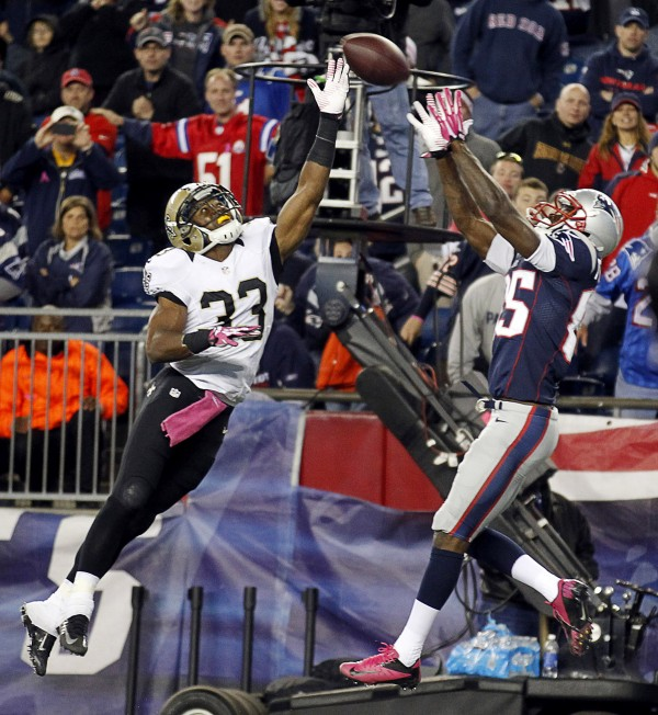 New England Patriots wide receiver Kenbrell Thompkins (85) catches the game- winning touchdown over New Orleans Saints cornerback Jabari Greer (33) during the fourth quarter at Gillette Stadium Sunday night. The Patriots defeated the Saints 30-27.