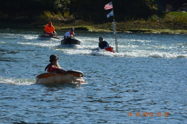 Racers get going Monday morning in the motor division of the annual Damariscotta Pumpkinfest & Regatta.