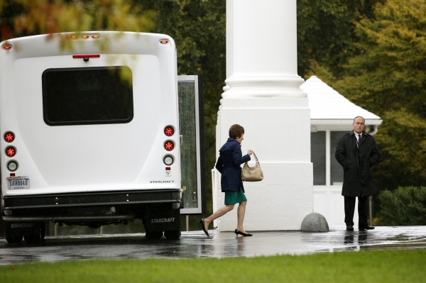 Sen. Susan Collins steps out of a bus as she arrives with other members of the Senate Republican Caucus for a meeting with President Barack Obama at the White House  in Washington on Friday.