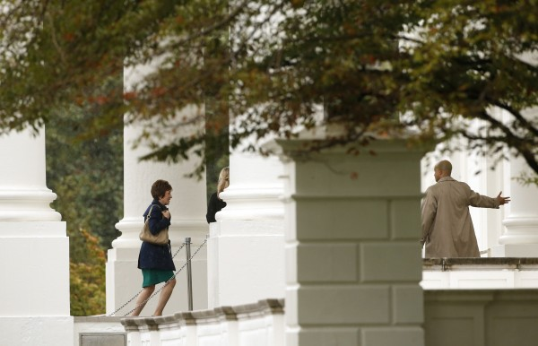 Sen. Susan Collins arrives with other members of the Senate Republican Caucus for a meeting with President Barack Obama at the White House in Washington on Friday.