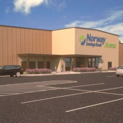 An artistic rendering of Auburn's Norway Savings Bank Arena, a two-rink ice skating facility due to open in November. Norway Savings Bank announced Tuesday it has signed a 10-year agreement to pay $770,000 for the naming rights to the facility.