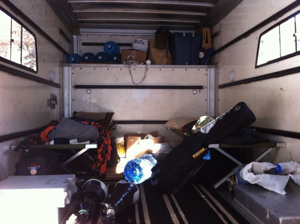 Rob Jones has outfitted a truck for him and his younger brother to sleep in during their journey across the country.