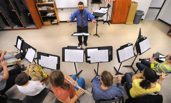 Trevor Marcho conducts during the rehearsal of the Prelude Wind Ensemble of the Bangor Symphony Youth Orchestras.