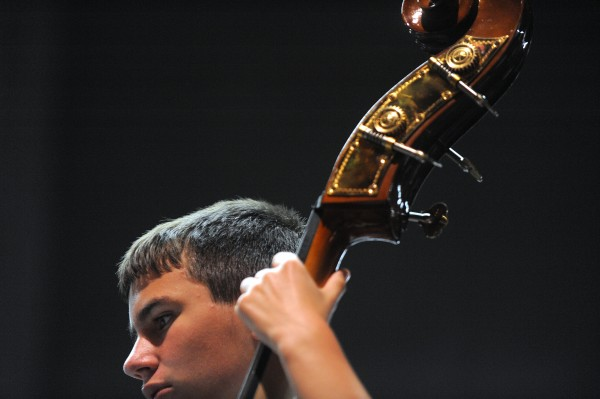 Prelude String Orchestra bass player Michael Sears during rehearsal at the Bangor High School.