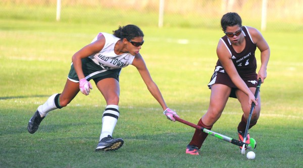 Old Town's Tia Jackson and Foxcroft Academy's Avery Carroll battle for the ball during the second half of the game in Old Town on Tuesday afternoon.