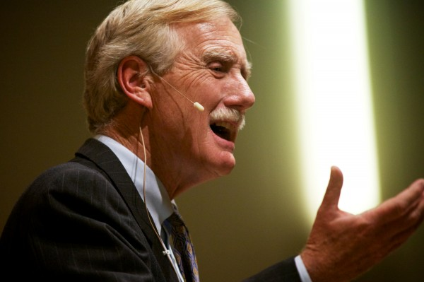 Sen. Angus King speaks at the University of Southern Maine Thursday afternoon in Portland. &quotWe were sort of celebrating this morning about having kept the government open for three months. The basic issues of, €˜should we keep the government open, should we pay our bills,€™ should have been taken care of in 15 minutes,&quot King told the audience.