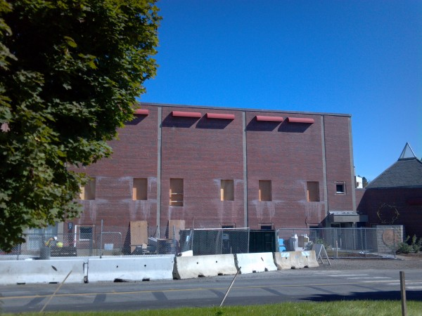 Work on the football wing of the Memorial Gymnasium is being done as part of the University of Maine's $15 million renovation to the field house and gym buildings. The second floor of this section will become an office suite for UMaine athletics.