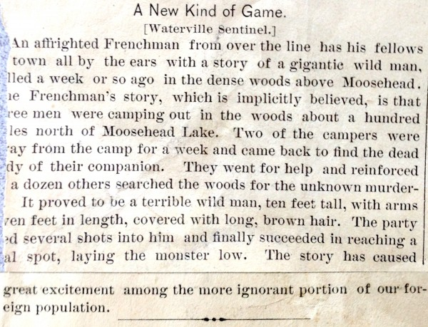 Bigfoot in Maine? 10-foot-tall 'wild man' was killed in 1886, newspapers reported