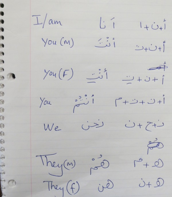 A notebook of student classwork in Deering High School's recently launched Arabic class. Portland Public Schools called it the state's first Arabic class in a Maine public school.