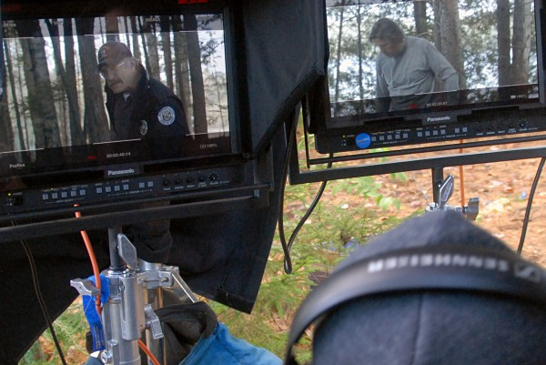 "Actor Ted Levine, left monitor, and actor-producer Thomas Hildreth, right monitor, are scrutinized by director Ian McCrudden, back to camera, during shooting of ""The Girl in the Lake"" on Tuesday, Oct. 8, 2013."