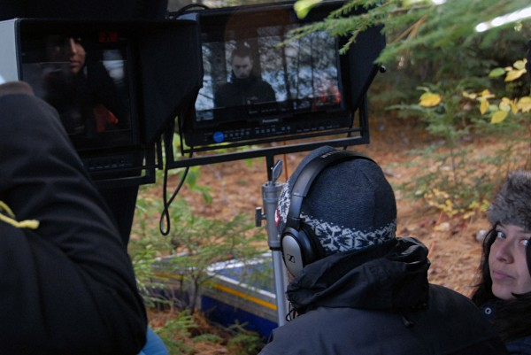 "Director Ian McCrudden, back to camera, awaits a shot setup during shooting of ""&quotThe Girl in the Lake&quot"" at Jerry Pond in Millinocket on Tuesday, Oct. 8, 2013."