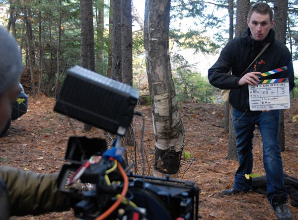 "Crew member Donnacha Breheny synchronizes sound and picture for the next shot during shooting of ""&quotThe Girl in the Lake&quot"" in Millinocket on Tuesday, Oct. 8, 2013."
