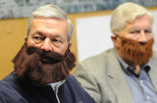 Irv Marsters and Bangor Mayor Nelson Durgin (right), both members of the committee to bring the World Series trophy to Bangor, sport Red Sox beards at their meeting Thursday morning at City Hall.
