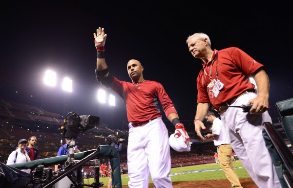 St. Louis Cardinals right fielder Carlos Beltran waves to the crowd as he leaves the field after game one of the National League Championship Series against the Los Angeles Dodgers at Busch Stadium in St. Louis Friday night.