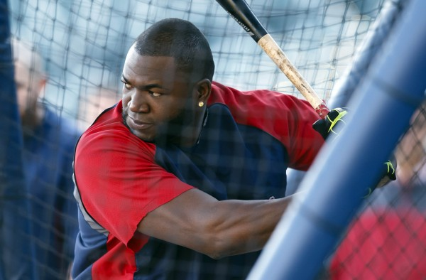 Boston Red Sox designated hitter David Ortiz (34) takes batting practice Monday before Game 3 of the American League Championship Series Tuesday against the Detroit Tigers at Comerica Park.