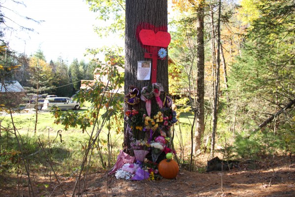 Several items were added by Wednesday to a makeshift memorial that was created at the tree on Bucks Mills Road in Bucksport where Taylor Darveau was killed in a car accident on Oct. 3.