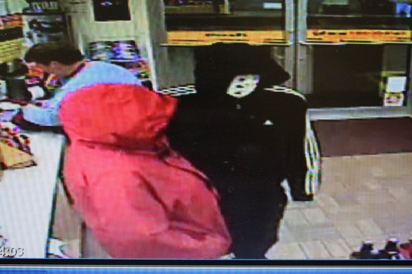 Brunswick police are searching for a man and woman who allegedly robbed the Big Apple store on Pleasant Street Friday night. The man is described as 5 feet, 6 inches tall, 240 to 260 pounds, and was wearing a black hooded sweatshirt with three stripes down the sleeves, black pants and white sneakers.