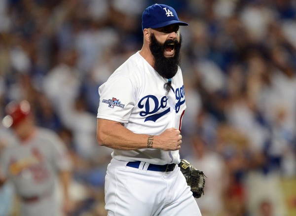 Los Angeles Dodgers relief pitcher Brian Wilson (00) reacts after he pitches the eighth inning against the St. Louis Cardinals in game three of the National League Championship Series Monday night at Dodger Stadium in Los Angeles. The Dodgers won 3-0.