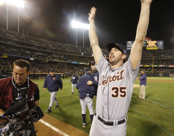 Detroit Tigers pitcher Justin Verlander celebrates a 3-0 win against the Oakland Athletics in Game 5 of the American League Division Series in Oakland Thursday night. Verlander struck out 10 and allowed only two hits in eight innings in eliminating the A's.