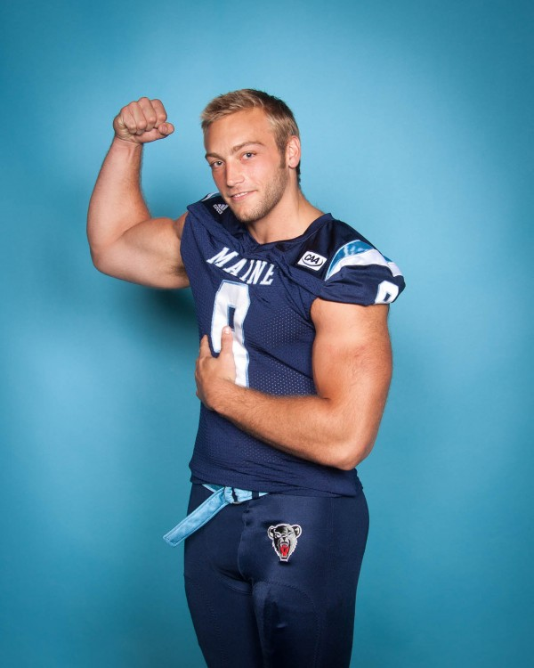 Senior Mike Cole poses playfully during the University of Maine's football media day in August. The defensive end has dealt with injuries in pursuit of the school record for quarterback sacks.