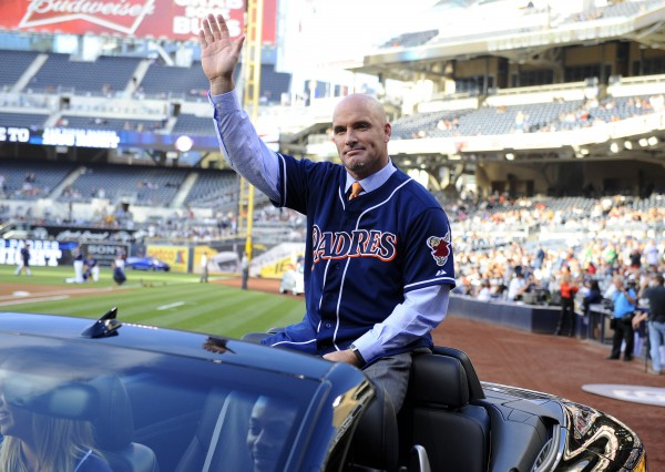 Former San Diego Padre Mark Sweeney waves to the crowd during a pregame ceremony to honor the members of the 1998 National League Championship team before a game against the Arizona Diamondbacks at Petco Park on June 14, 2013.