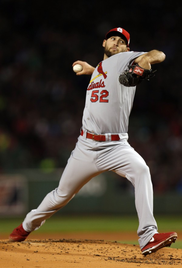 St. Louis Cardinals starting pitcher Michael Wacha (52) throws against the Boston Red Sox during the first inning of game two of the World Series at Fenway Park.