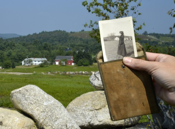 The Annie Mills farm in Aurora, recently placed on Maine Preservation's list of endangered historic buildings, serves as a backdrop for this small photo of Annie Mills, taken circa 1918. In the small photo, the farm is visible in the distance behind Mills. The photo, and the pocket it is kept in, were part of the World War I uniform and memorabilia that once belonged to Fay Mills, son of Ora and Annie Mills, who owned the farm. The photograph, uniform and other items recently were donated to the Upper Union River Historical Society housed in the Aurora Brick School House just up the hill from the Annie Mills farm located at the corner of Route 9 and Route 179.