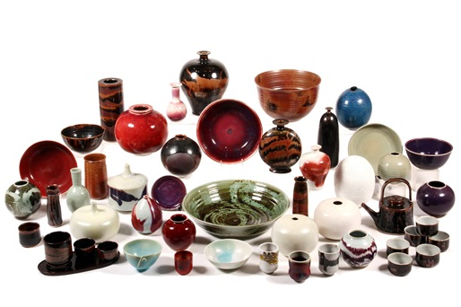 Selection of art pottery by Brother Thomas Bezanson (VT, 1929-2007) to be sold at Thomaston Place Auction Galleries on Sunday, November 10