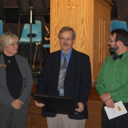 Attached image: L-R Sharon Campbell, Regional Representative for Senator Angus King and Phil Bosse, Regional Representative for Senator Susan Collins read an excerpt of the Senate Congressional Record and presented a copy to MSSM Executive Director Luke Shorty.