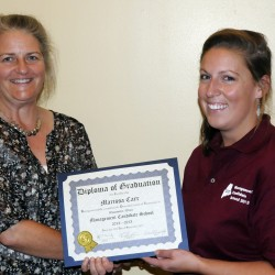 Marissa Carr of Maine Water (right) receives her diploma from Leeann Hanson, JETCC Training Coordinator