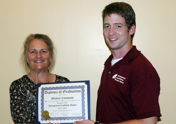 Michael Cummons of Maine Water (right) receives his diploma from Leeann Hanson, JETCC Training Coordinator