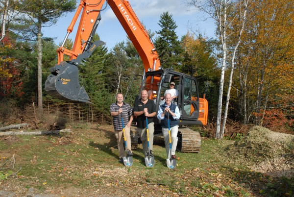 Pictured from left to right are Chuck Brawn of The New England Real Estate Co., Lou Wood, Owner and Developer of The Homes at Ducktrap Retreat, and A. Flint Decker of The New England Real Estate Co., during the official groundbreaking ceremonies, held on Oct.15.