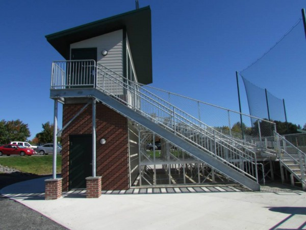 The recently completed press box and bleachers at the O'Keefe Softball Field on the campus of Husson University in Bangor.