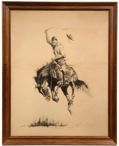 Original ink drawing by Frederic Remington (NY/KS, 1861-1909), 'A Running Bucker', one of two Remington drawings in Thomaston Place Auction Galleries' Nov. 9 & 10 auction